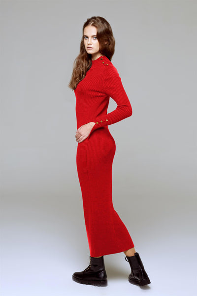 Maxi ribbed wool dress in Scarlet