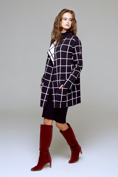 Reversible Jacquard-Knit Check Cardigan
