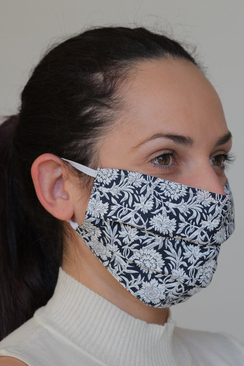 Reusable Protective Cotton Cloth Mask with Integrated Filter Print in Navy