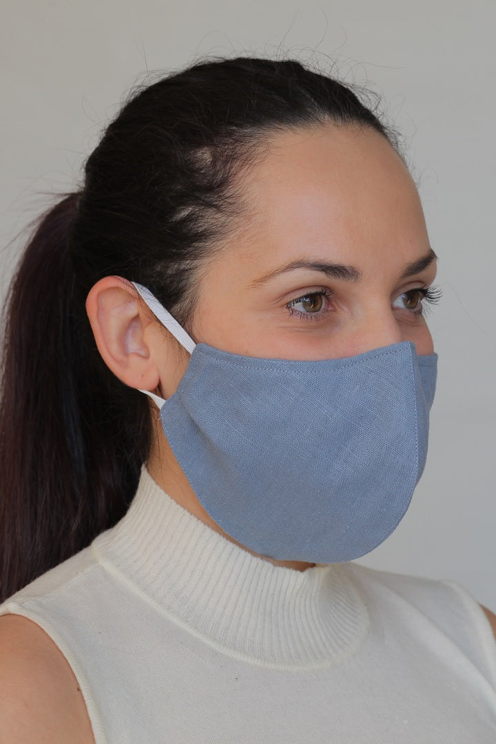 Linen Protective Cloth Mask in Blue