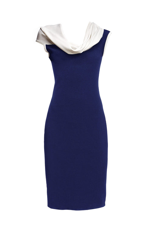 Blue asymmetric neckline knitted dress