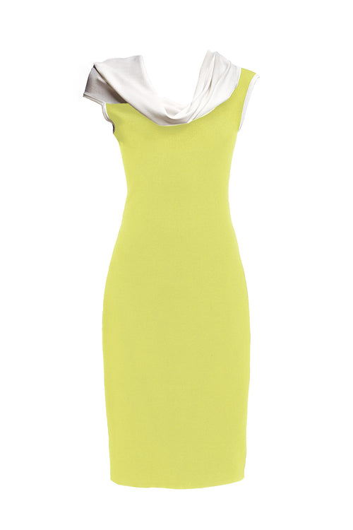 Chartreuse asymmetric neckline knitted dress