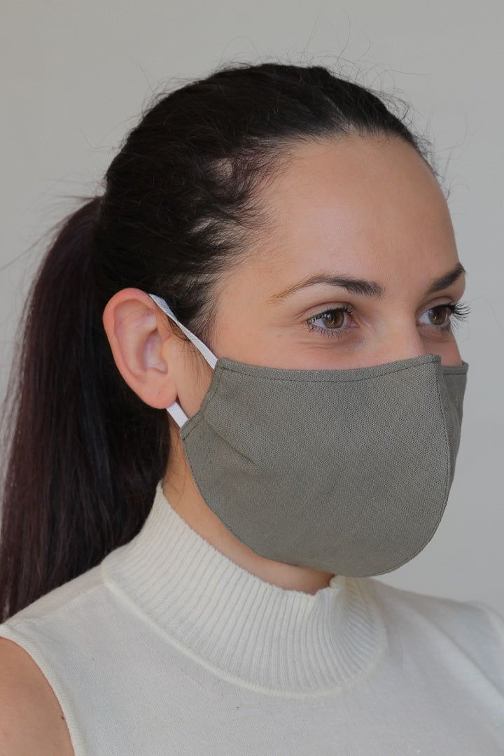 Linen Protective Cloth Mask in Green