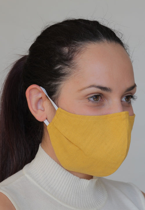 Linen Protective Cloth Mask in Yellow