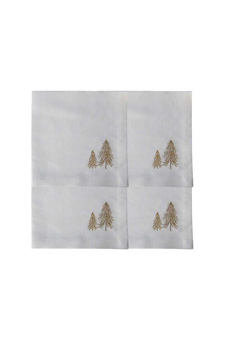 Set of 4 Embroidered Linen Napkins – Trees