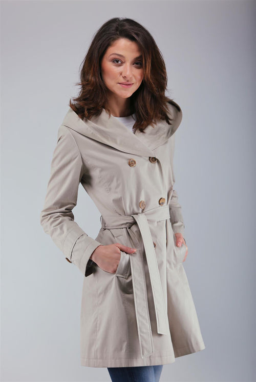 Hooded shell trench coat