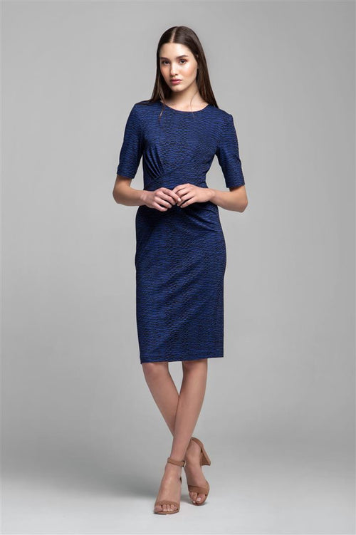 Soft Jersey Dress With Waistline Drapes in Blue Print