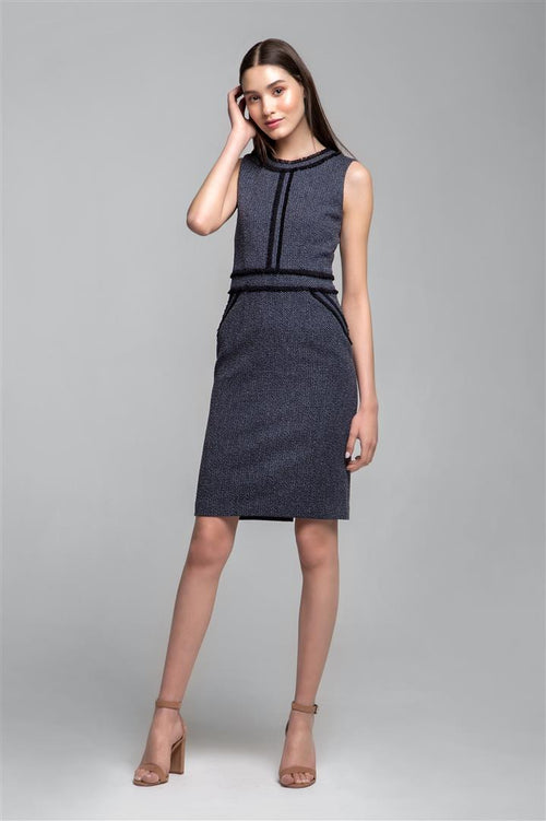 Navy cotton tweed dress with fringed detail