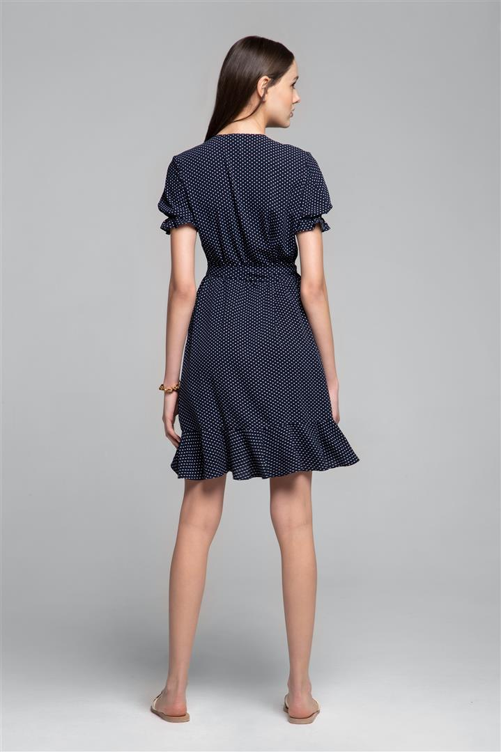 Ruffled wrap dress with short sleeves in polka dot print