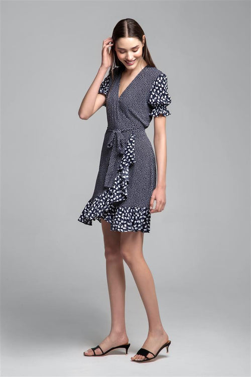 Ruffled wrap dress with short sleeves in floral print