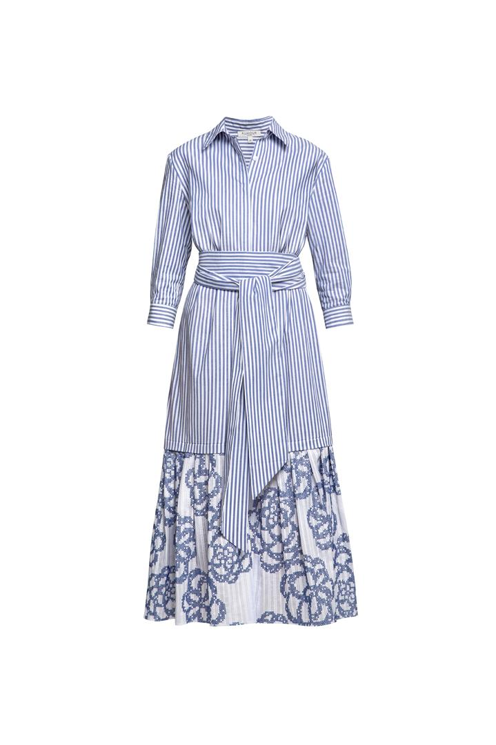 Belted striped shirt dress with embroidered panel