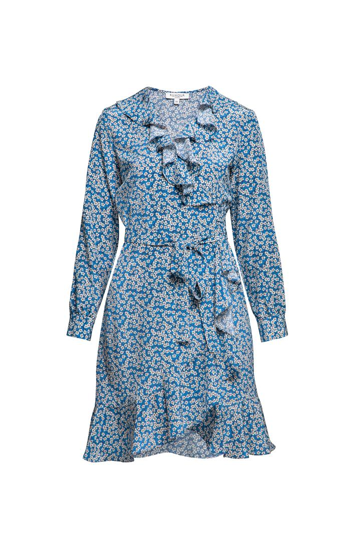 Ruffled silk wrap dress with cherry blossom print