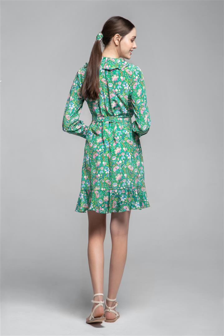 Ruffled silk wrap dress in green floral print