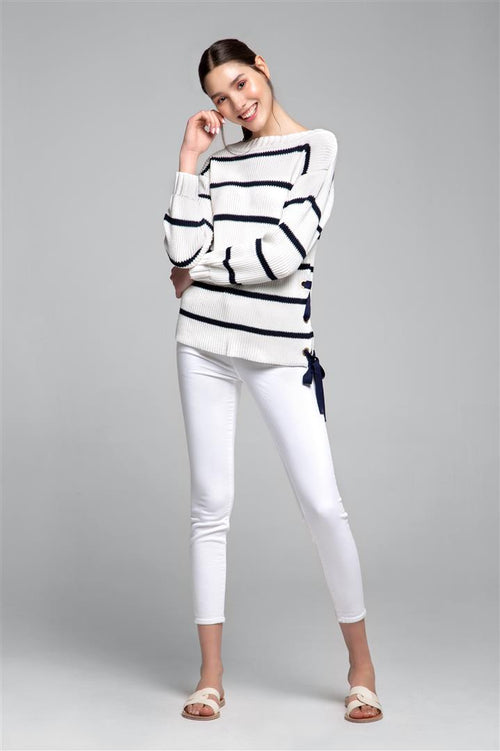 Striped Cotton Sweater With Metal Eyelets In Cream