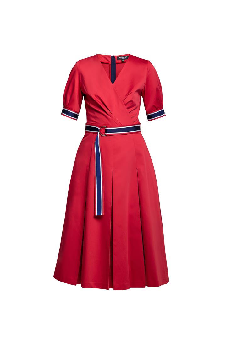 Red flared cotton poplin dress with slits