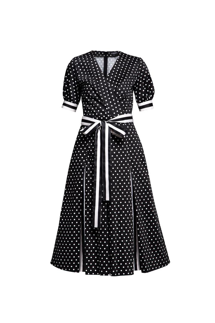 Polka dot flared cotton dress with striped details and slits