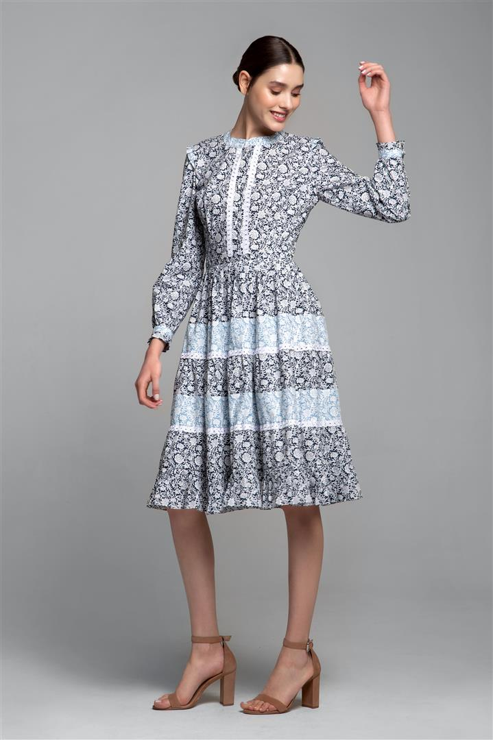Printed poplin midi dress with embroidered trim