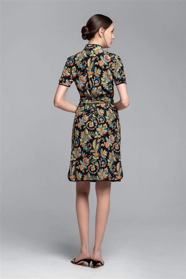 Kimono-style silk wrap dress with oriental floral print in black