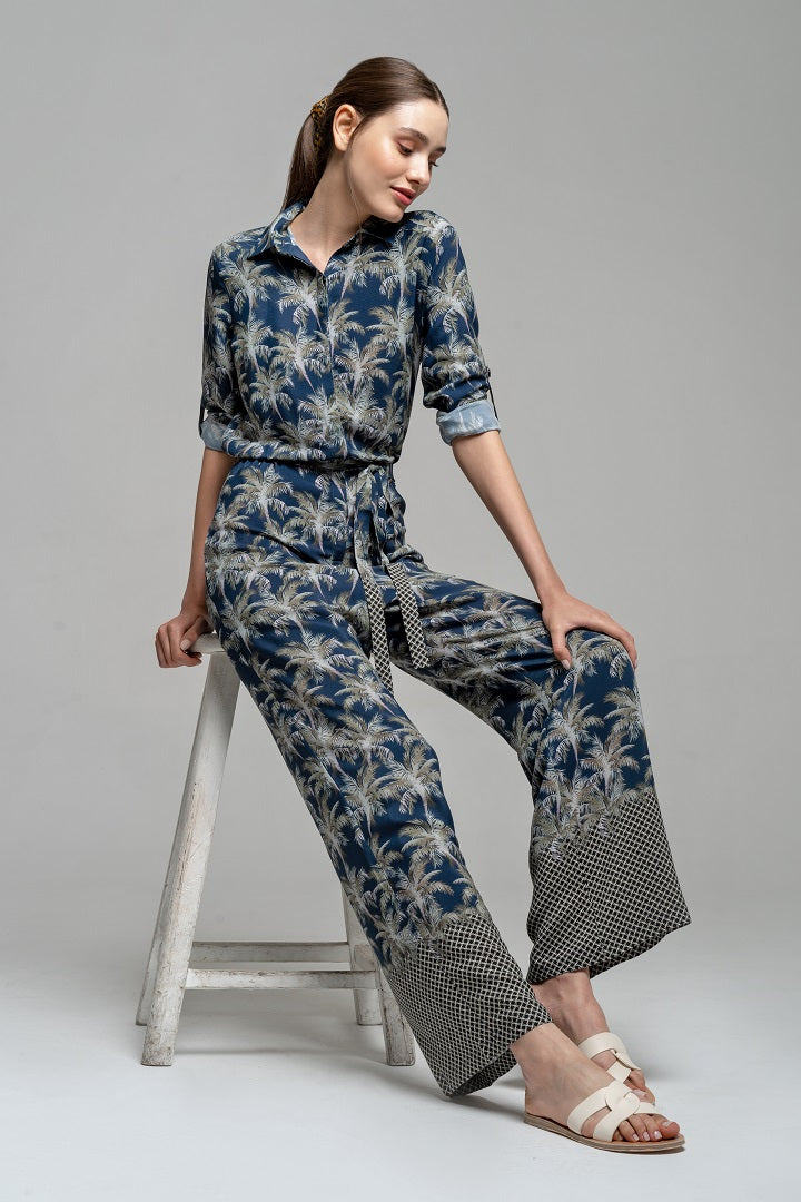 Jungle print shirt style jumpsuit