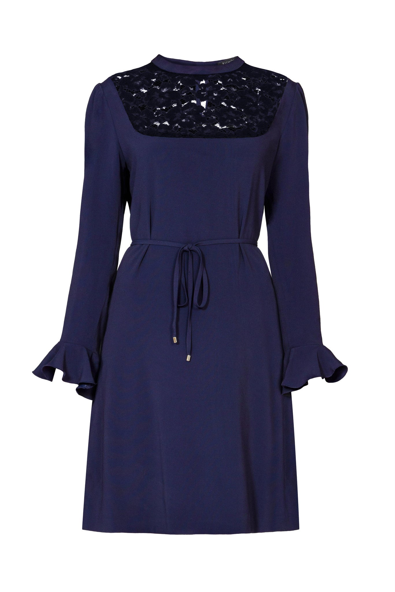Lace-panelled cady dress