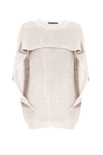 Ivory cape-effect merino wool ribbed knit sweater
