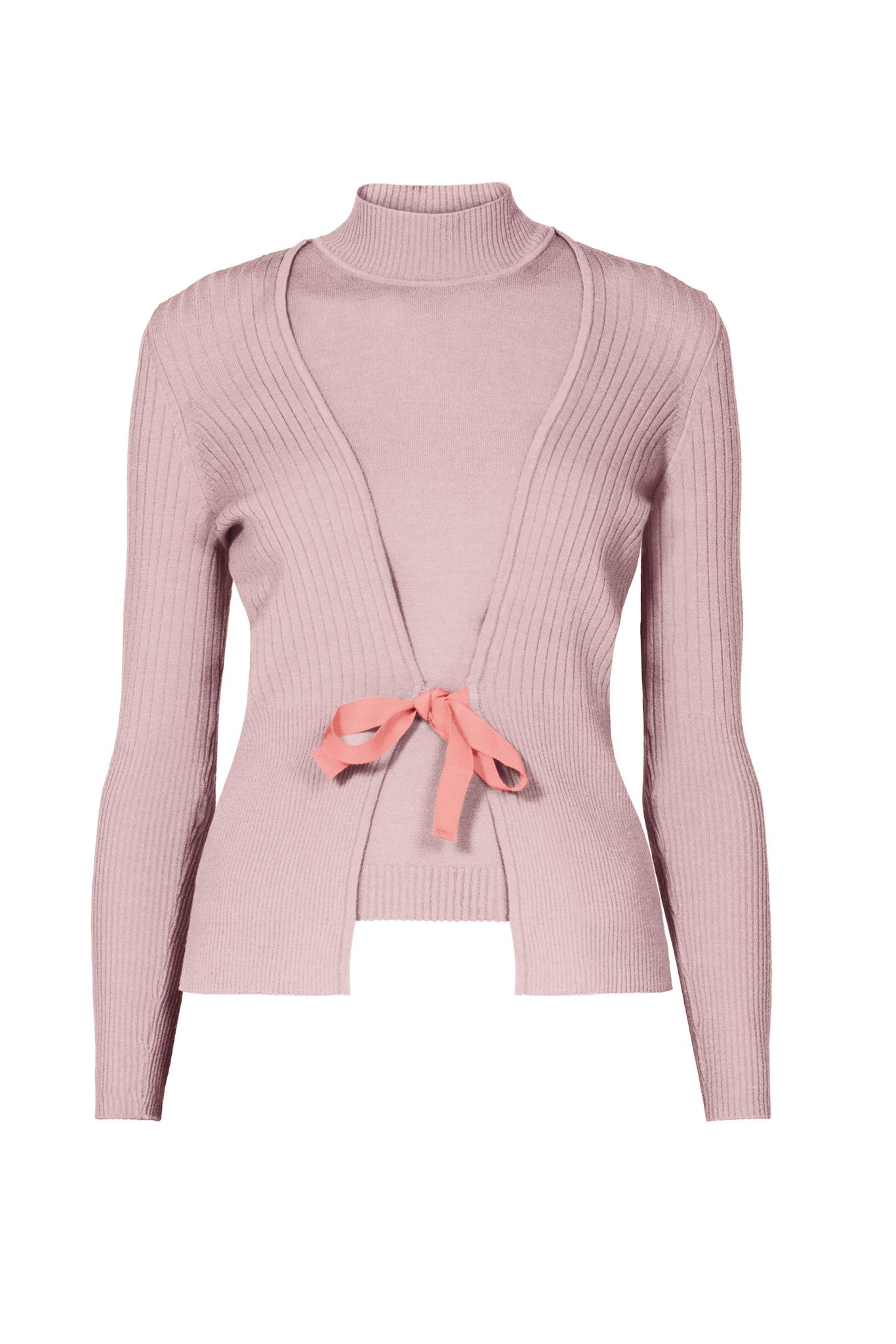 Powder pink wool cardigan and sleeveless top