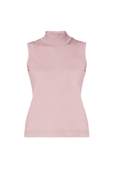 Soft Pink Merino Wool Sleeveless Top