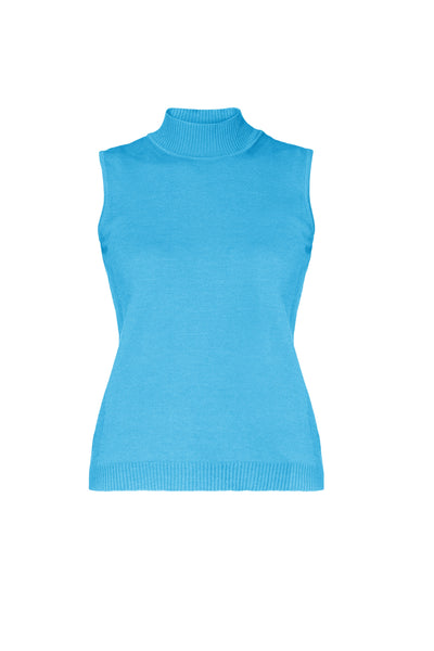 Sky Blue Merino Wool Sleeveless Top