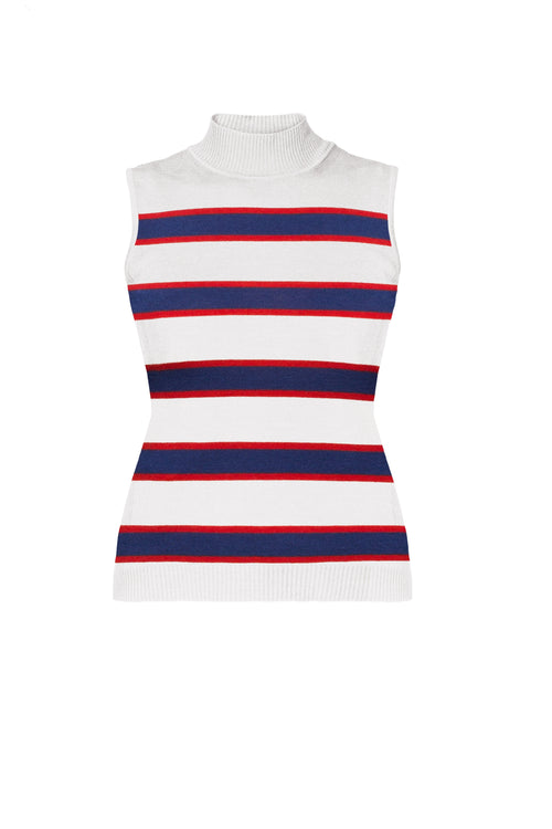 Blue And Red Striped Sleeveless Top