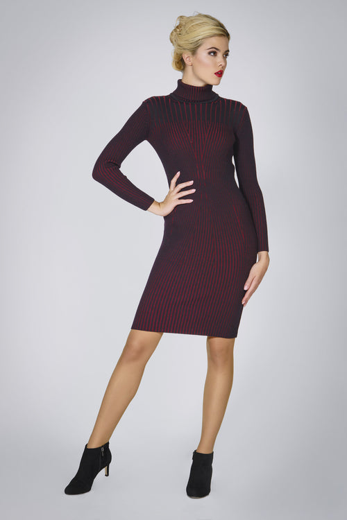 Black two-tone ribbed knit dress