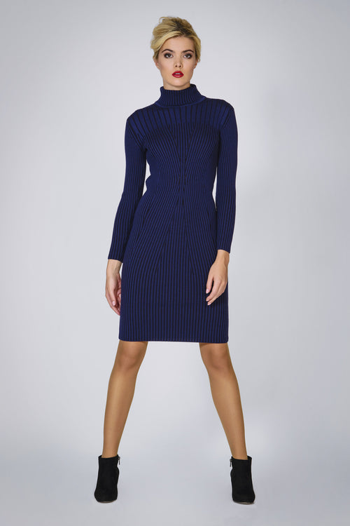 Blue two-tone ribbed knit dress