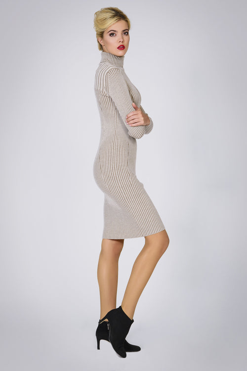 Oatmeal two-tone ribbed knit dress