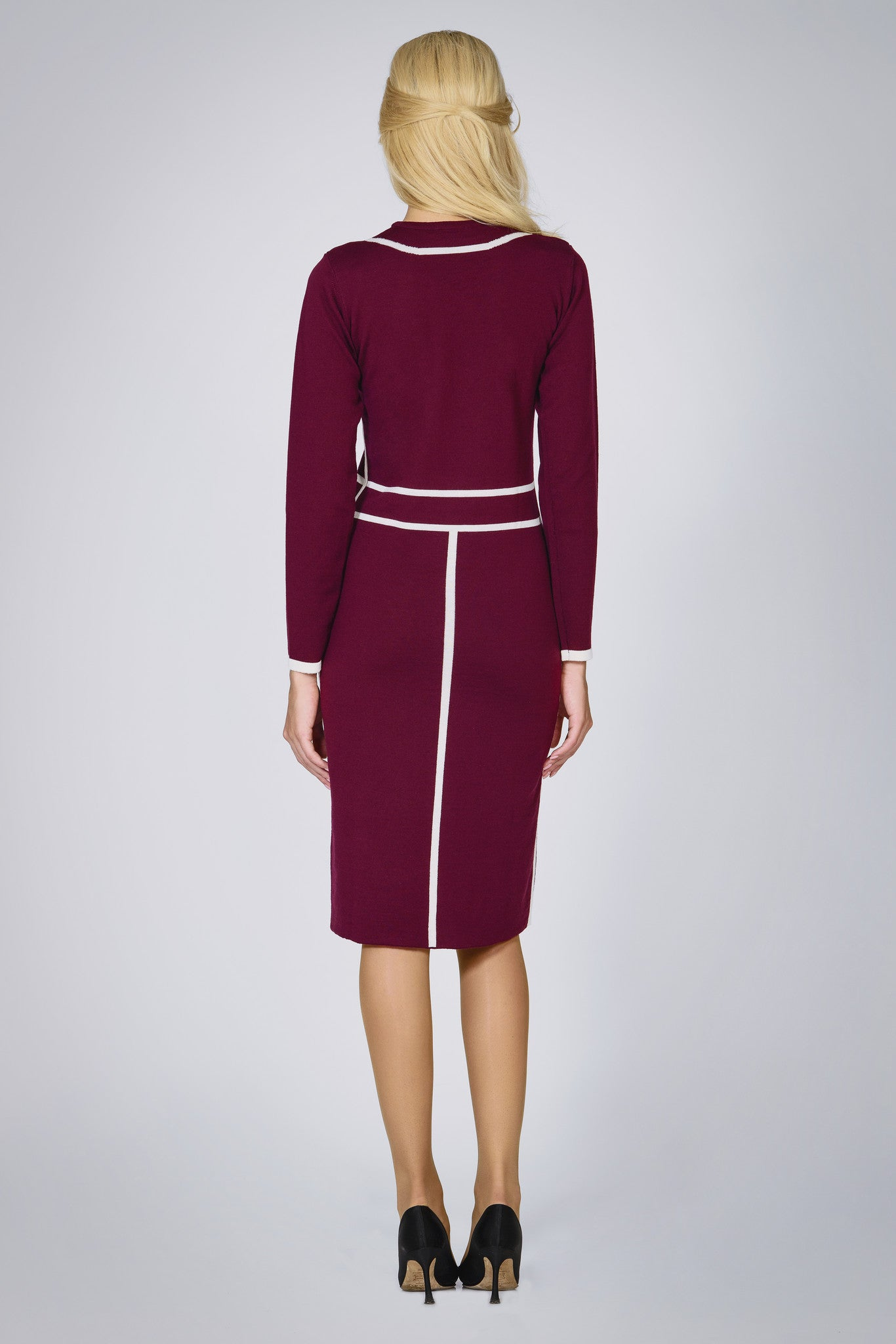 Knitted Jacquard Dress in Mulberry