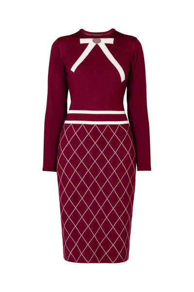 Bow Jacquard Knitted Dress in Mulberry