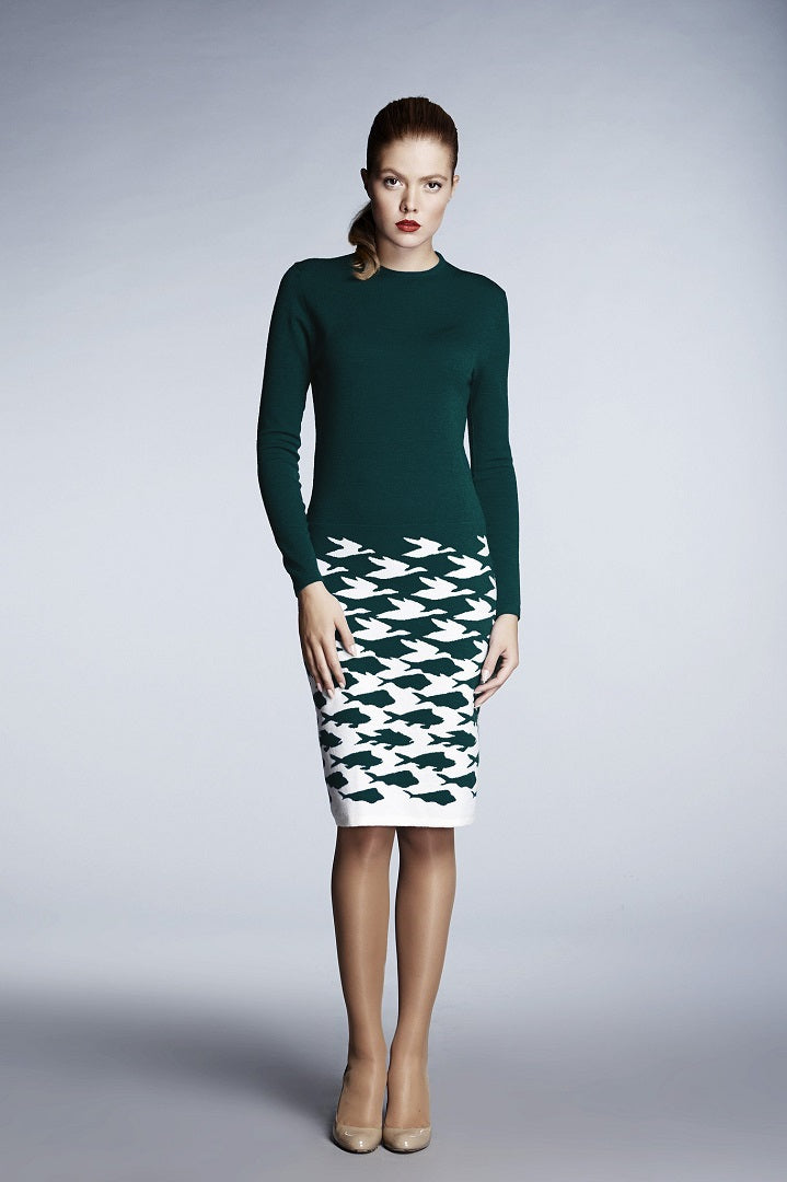 Forest green illusion houndstooth knitted jacquard dress