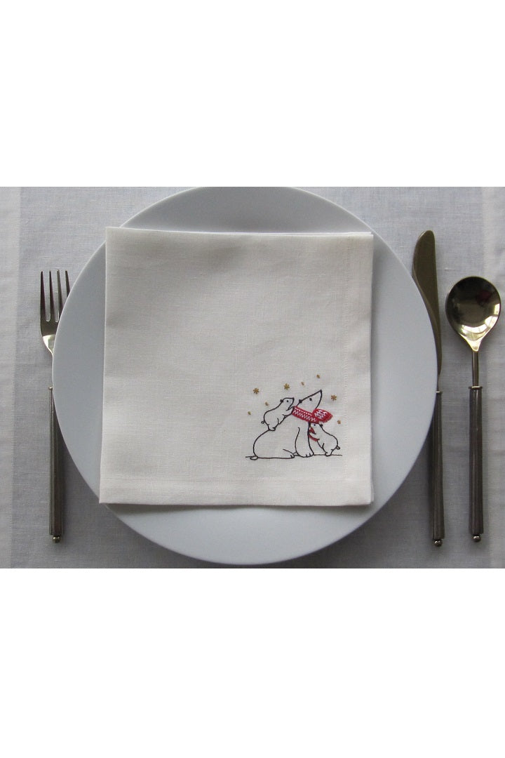 Set of 4 Embroidered Linen Napkins – Polar Bears