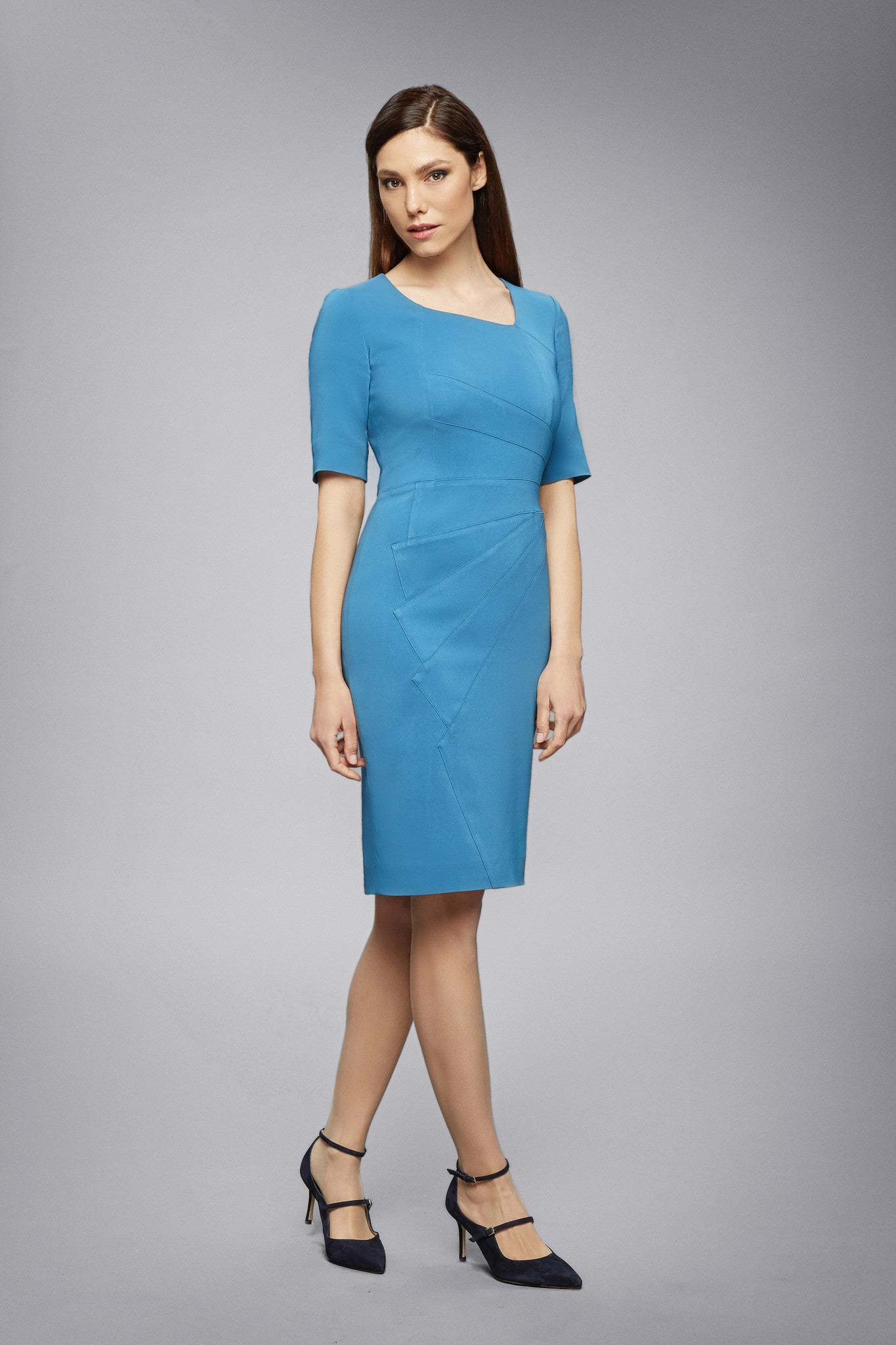 Atlantic Fitted Knee Length Dress with Asymmetrical Neckline