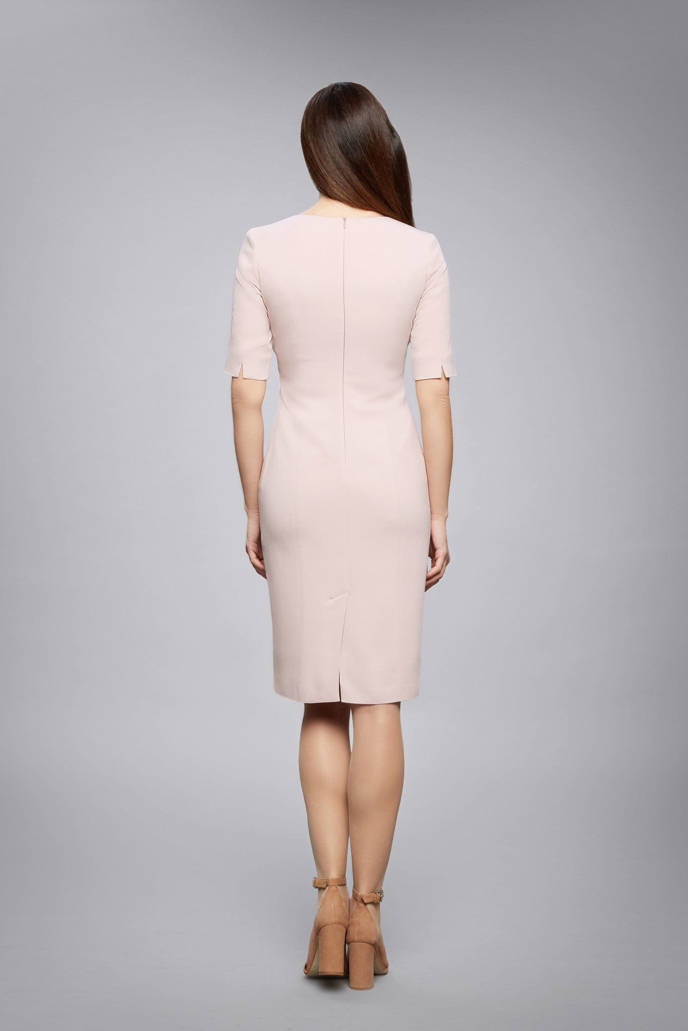 Powder Pink Fitted Knee Length Dress with Asymmetrical Neckline