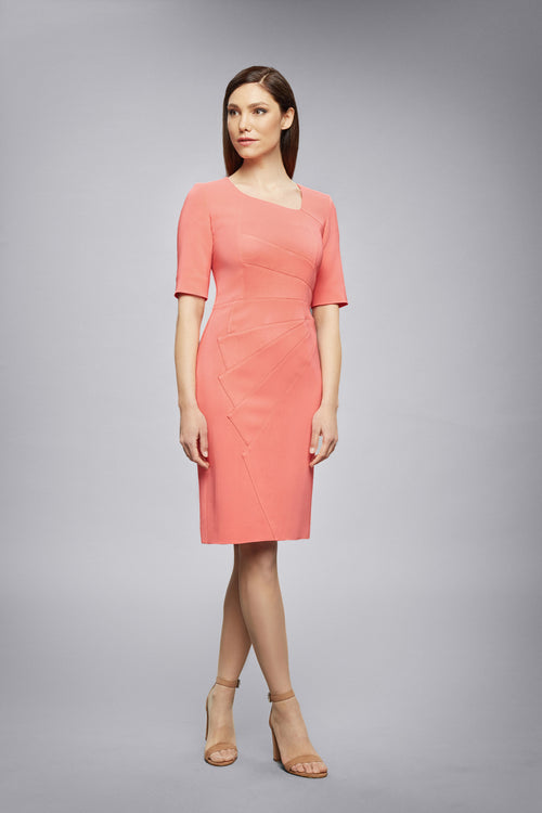 Coral Fitted Knee Length Dress with Asymmetrical Neckline