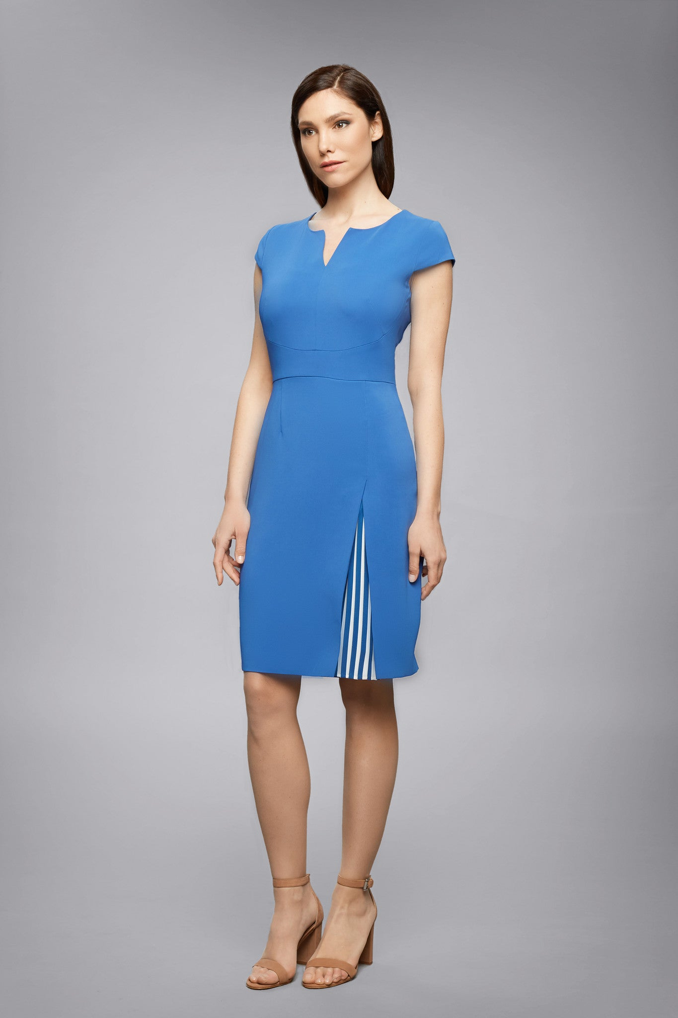 Stretch-Crepe Dress With Capped Shoulder And Pleated Detail