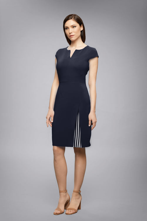 Stretch-Crepe Dress With Capped Shoulder And Pleated Detail In Midnight Blue