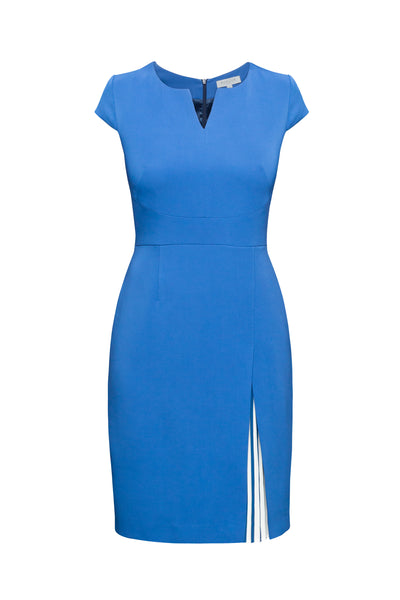 Stretch-Crepe Dress With Capped Shoulder And Pleated Deatail