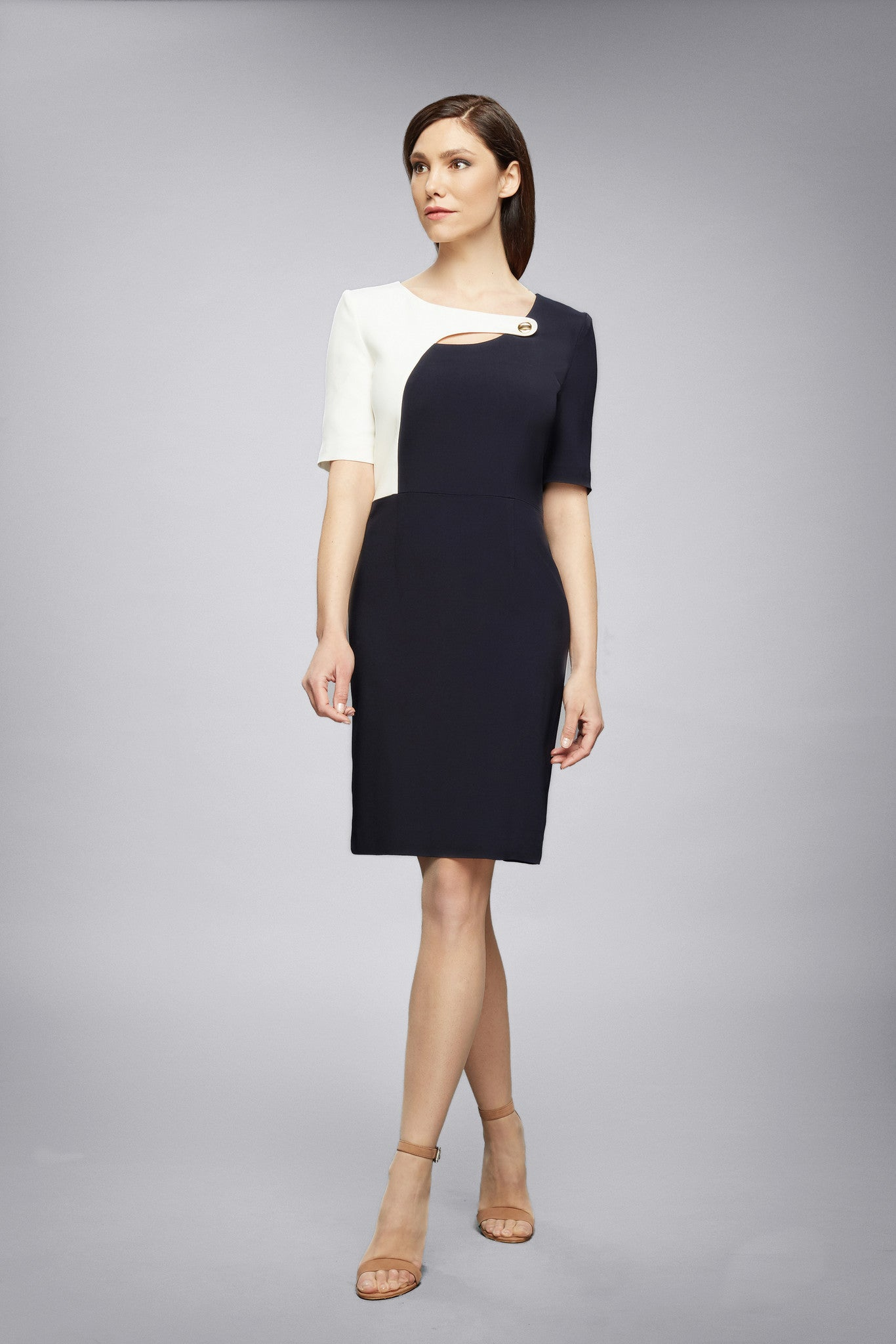 Midnight Blue Dress With Keyhole Tab Neckline And Cream Silk Detail