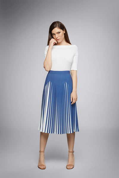 Azure Blue Pleated Two-Tone Midi Skirt
