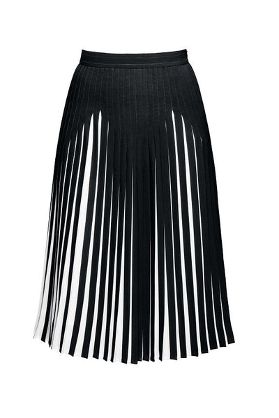 Black Pleated Two-Tone Midi Skirt