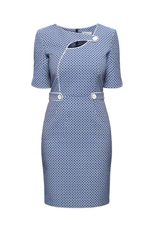 Polka Dot Dress With Keyhole Tab Neckline