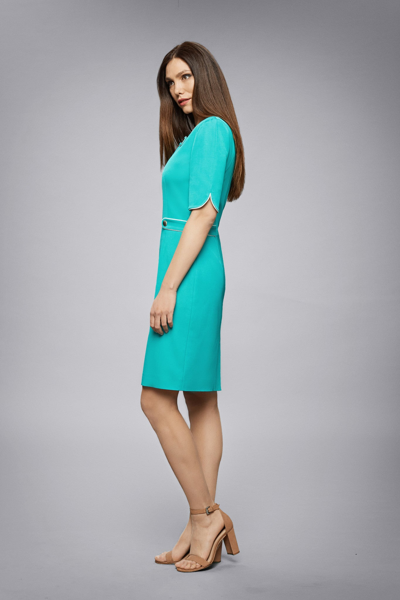 Green Dress With Keyhole Tab Neckline