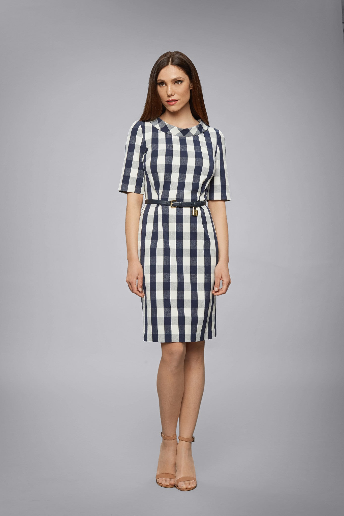 Navy Stretch-Cotton Gingham Dress With Raised Collar