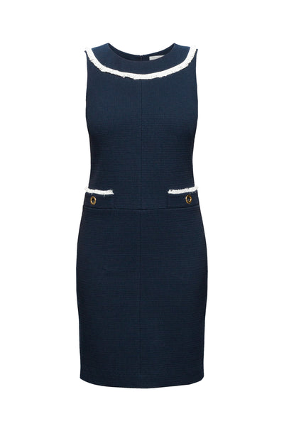 Navy cotton tweed dress with fringed neckline detail