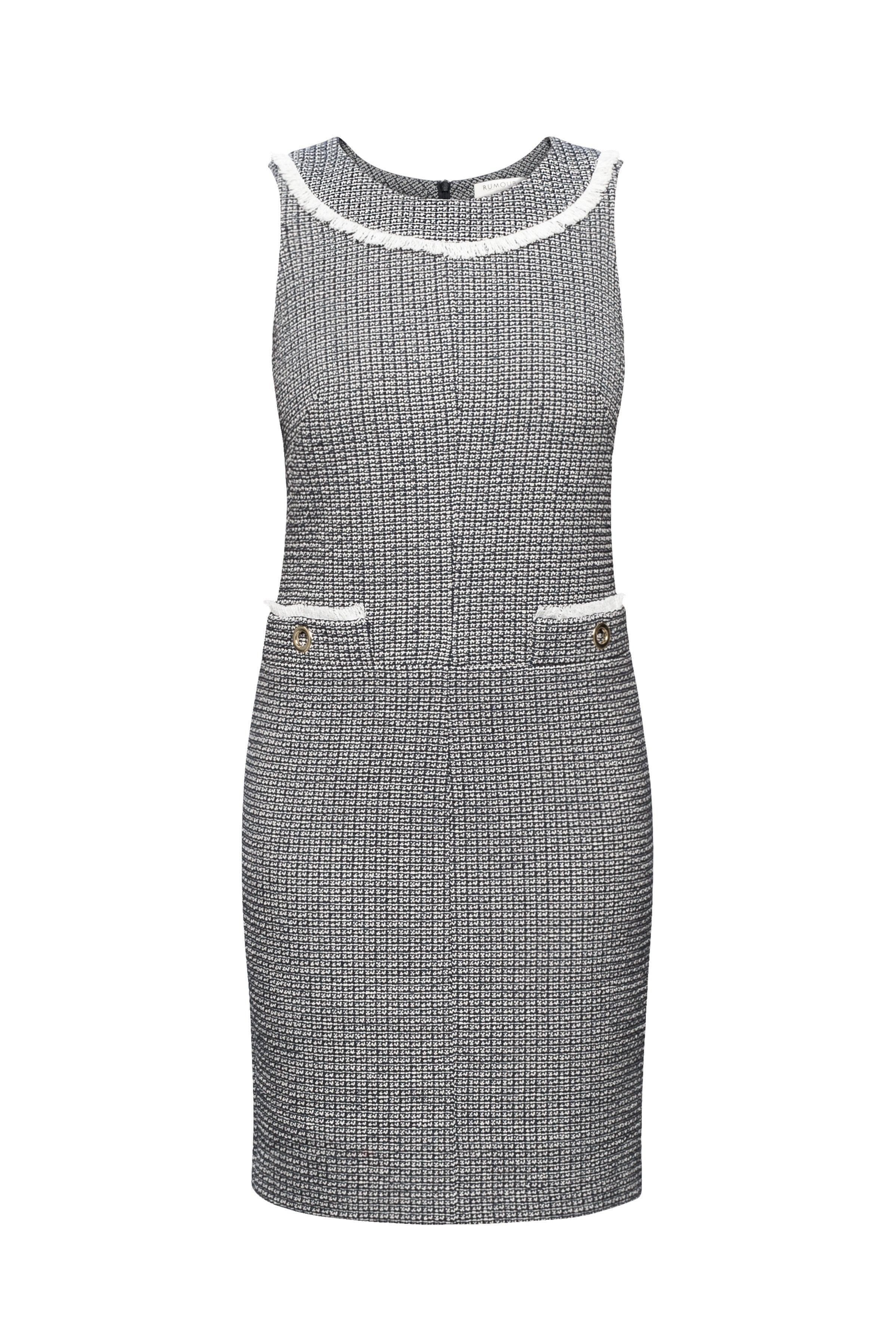 Checked cotton tweed dress with fringed neckline detail